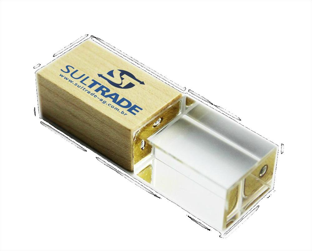 Pen Drive Vidro, tampa Bambu -  8GB, 16GB e 32GB