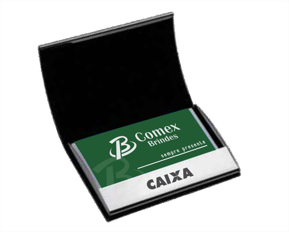 Porta Cartões Executivo, Inox e Couro Sintético - RE.298777